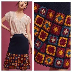 Anthropologie Harlyn Square Crochet Knit Skirt S